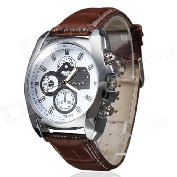 Zhongyi 809 Men's PU Band Quartz Analog Wrist Watch - Brown + Silver (1 x 626)