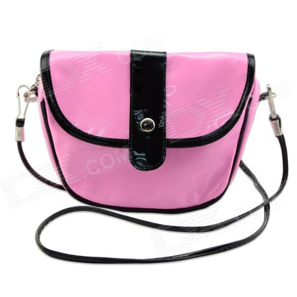 Fashionable Waterproof Leather Messenger Bag for Women - Pink + Black