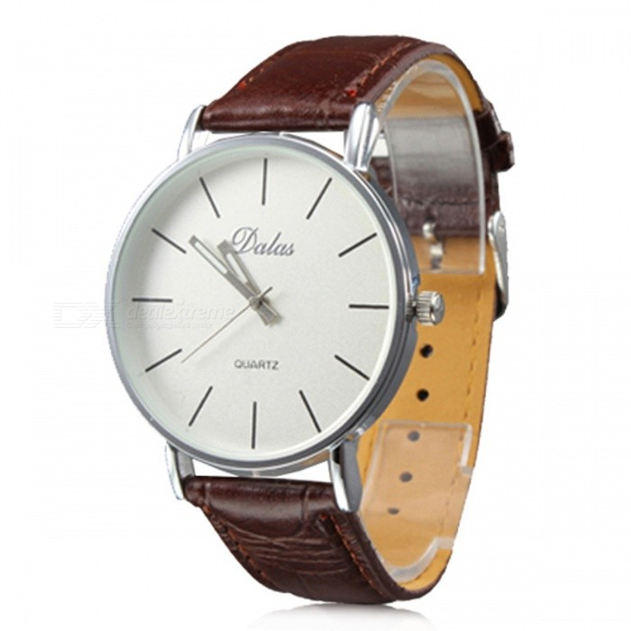 Simple White Dial PU Band Analog Quartz Wrist Watch - Brown + Sliver (1 x 626)