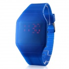 Red LED Digital Rubber Band Quartz Wrist Watch - Blue