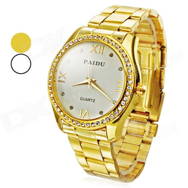 Rhinestone Zinc Alloy Dial Stainless Steel Band Analog Quartz Wrist Watch - Golden (1 x 626) paidu fashion men wrist watch casual round dial analog quartz watch roman number faux leatherl band trendy business clock