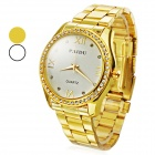Rhinestone Zinc Alloy Dial Stainless Steel Band Analog Quartz Wrist Watch - Golden (1 x 626)