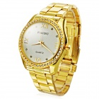 Rhinestone Zinc Alloy Dial Stainless Steel Band Analog Quartz Wrist Watch - gylne (1 x 626)
