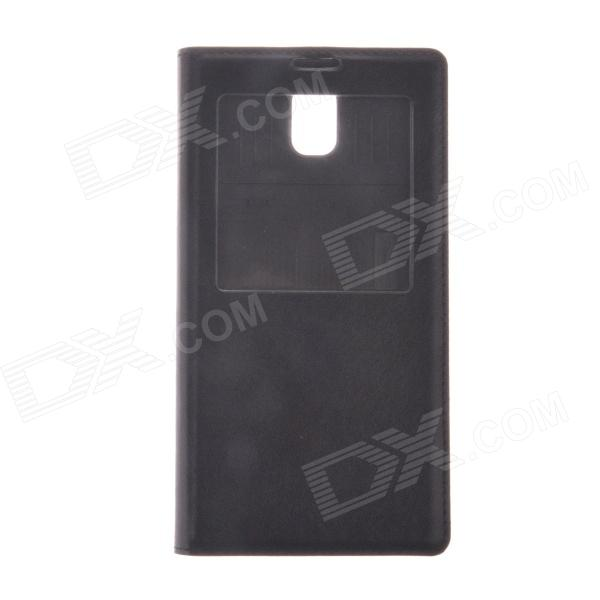 Protective PU Leather Case w/ Display Window / Plastic Back Case for Samsung Galaxy Note 3 - Black