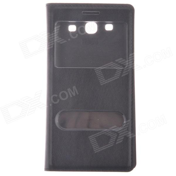 Protective PU Leather Case w/ Display Window / Plastic Back Case for Samsung Galaxy S3 i9300 - Black