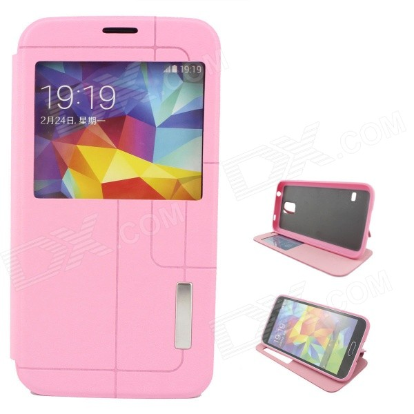 Stylish Flip-Open PU + TPU Case w/ Stand / Display Window / Wake Up for Samsung Galaxy S5 - Pink protective flip open pu leather pc case w display window for samsung galaxy s5 deep pink