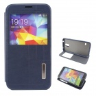 Flip-Open PU + TPU Case w / Stand / Display Window / Wake Up für Samsung Galaxy S5 - Deep Blue
