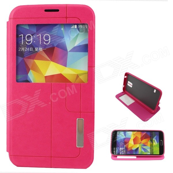 Flip-Open PU + TPU Case w/ Stand / Display Window / Wake Up for Samsung Galaxy S5 - Deep Pink pu leather flip open case w auto sleep chipset display window for samsung galaxy s5 pink