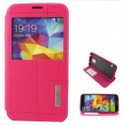 Flip-Open PU + TPU Case w/ Stand / Display Window / Wake Up for Samsung Galaxy S5 - Deep Pink