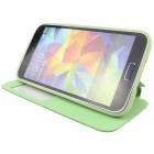 Protective Flip-Open PU + TPU Case w/ Stand / Display Window for Samsung Galaxy S5 - Green