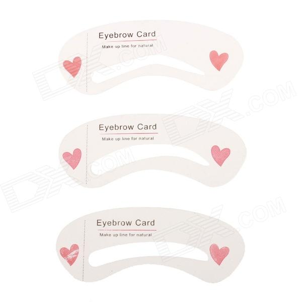 3-Different Eyebrow Grooming Shaping Card Kit - Pink + Translucent