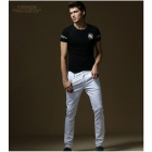 Fashionable Skull Style Slim T-Shirt for Men - Black (Size XXL)