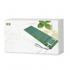 KP-8000 Foldable Solar Powered 5W 5V 8000mAh Dual Port Li-polymer Power Bank - Green + Black