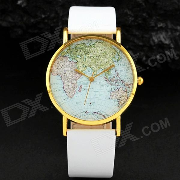 Men's World Map Pattern Big Round Dial PU Band Quartz Analog Wrist Watch - White + Golden