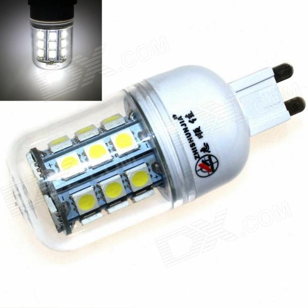 ZHISHUNJIA G9 6W 540lm 6500K 27 x SMD 5050 LED White Light Lamp - White + Transparent (85~265V)