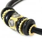 IN-Color Women's Fashionable Rhinestone Inlaid Leather + Zinc Alloy Necklace - Black + Golden