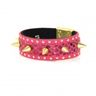 Fashion Punk Style Goldene Niet Spike-Armband - Deep Pink