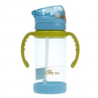 Cille XL-1403 Children Bottle Baby Straw Cup Holding Cup - Blue + Green + Transparent (400ml)