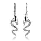 Fashion Snake Shaped Platinum Plated Rhinestone Drop Earrings - Silver