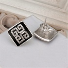 Classic Square Shaped Rhinestone Gold Plated Stud Earrings - White + Black