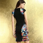 Fashionable Slim Polyester Dress - Black + Multi-Colored (Size L)