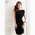 One-Shoulder Wrinkled Slim Dress - Black (L)