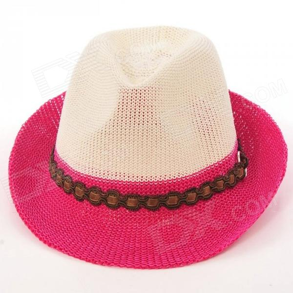Moda Weaving Parasol Hat - de color rosa oscuro