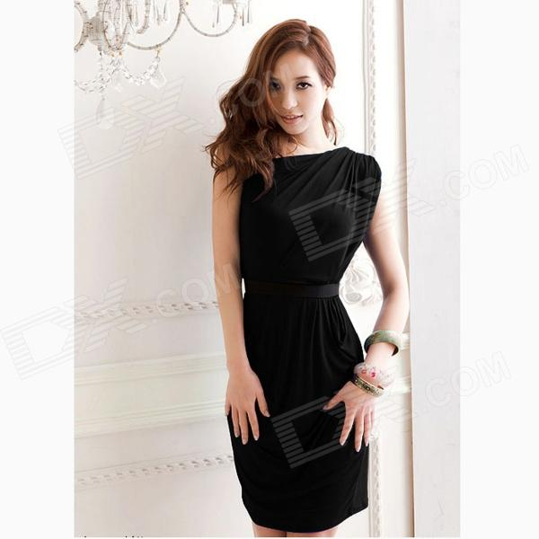 One-Shoulder Wrinkled Slim Package Hip Dress - Black (M)  muchuan cloth 2014 european restore ancient ways trend man single shoulder package diagonal package ma am leisure time package