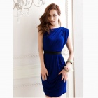 One-Shoulder Wrinkled Slim Dress - Sapphire Blue (L)