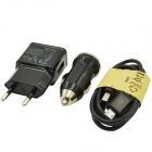 3-in-1 Car Charger + EU Plug Power Adapter + USB Cable for Samsung / HTC / Blackberry (Cable-100cm)