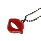 Creative Red Lips Pendant Necklace - Red + Black