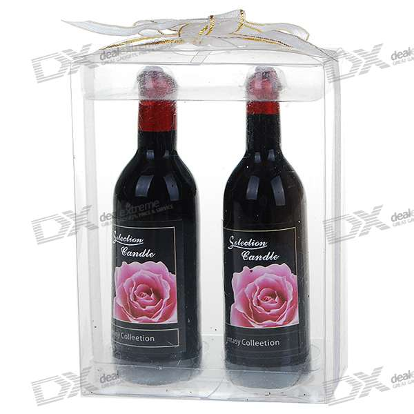 Charming Red Wine Bottle Shaped Wax Candles (Pair/Assorted Bottle Pattern )