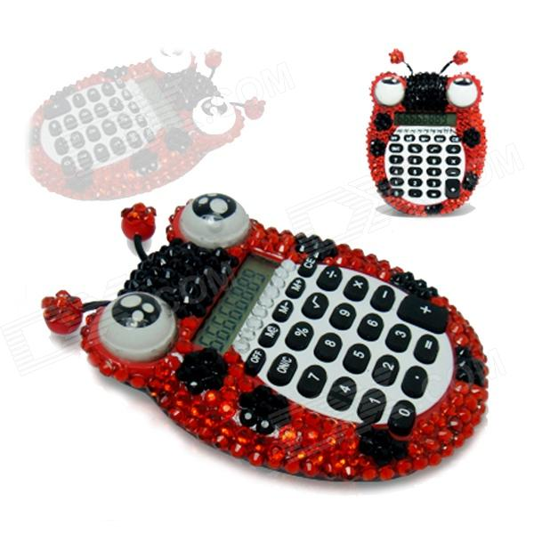 Diamante Ladybird Shaped Calculator - Red + Black