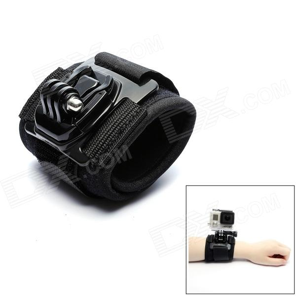 JUSTONE J036 Sports Camera PC + Polyester Wrist Strap w/ Mount for Gopro Hero 4/ 3+ / 3 / 2/SJ4000 - Black wrist band mount strap for gopro hero3 sj4000 camera
