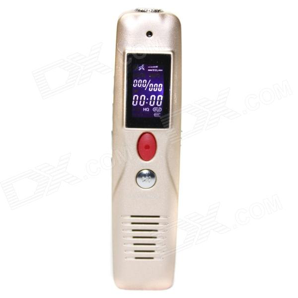 Portable 0.7 LCD Mini Rechargeable Digital Voice Recorder MP3 Player - Golden (8GB) mini portable benjie n9000 real 8gb lossless hifi sport mp3 music player high sound quality all alloy mp3 one key voice recorder