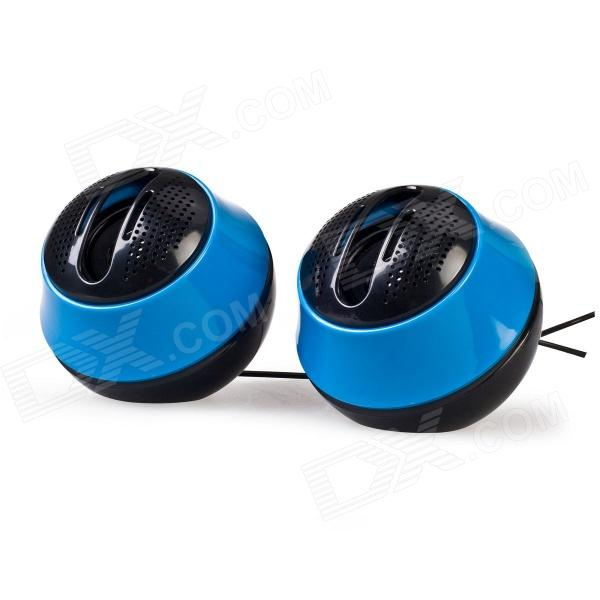 Portable 2.0-Channel USB Powered 3.5mm Wired Stereo Desktop Speakers Set for PC / Laptop - Blue
