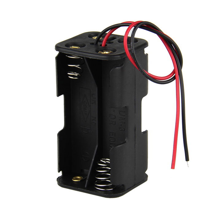 DIY 6V 4-Slot AA Battery Double Deck / Back to Back Holder Case w/ Leads - Black diy 9v 6 slot 6 x aa battery double deck back to back holder case box w leads black