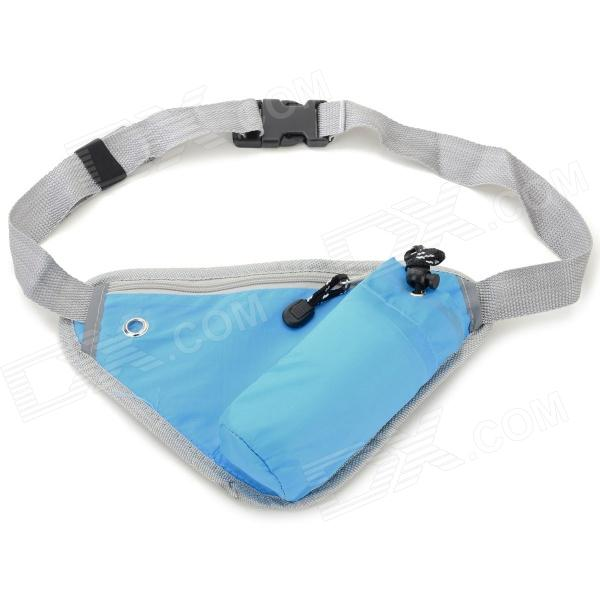 Outdoor Sports Close-fitting Water Bottle Waist Pack Bag w/ Zipper - Blue + Grey цена и фото