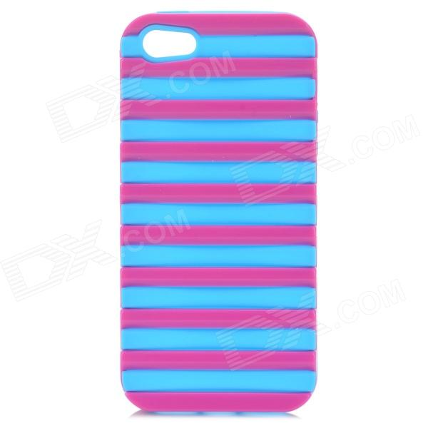Ladder Style Protective Silicone + PC Back Case Cover for IPHONE 5 / 5S - Deep Pink + Light Blue protective silicone soft back case cover for iphone 5 white