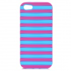 Ladder Style Protective Silicone + PC Back Case Cover for IPHONE 5 / 5S - Deep Pink + Light Blue