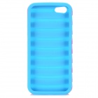 Escada Estilo protetora de silicone + PC de volta caso capa para o iPhone 5 / 5S - Deep Pink + Light Blue