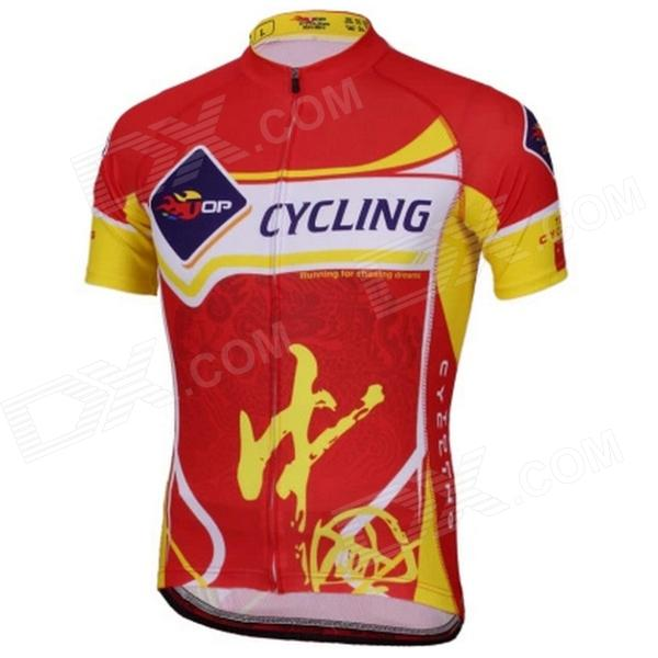 TOP CYCLING SAD212 Men's China Lettering Short-sleeved Dacron Cycling Jersey - Red + Yellow (L) professional full set guitar care tool repair maintenance tech kit contains 8 kinds of tools
