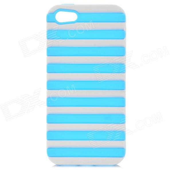 Ladder Style Protective Silicone + PC Back Case Cover for IPHONE 5 / 5S - White + Sky Blue protective silicone soft back case cover for iphone 5 white