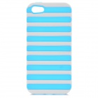 Ladder Style Protective Silicone + PC Back Case Cover for IPHONE 5 / 5S - White + Sky Blue