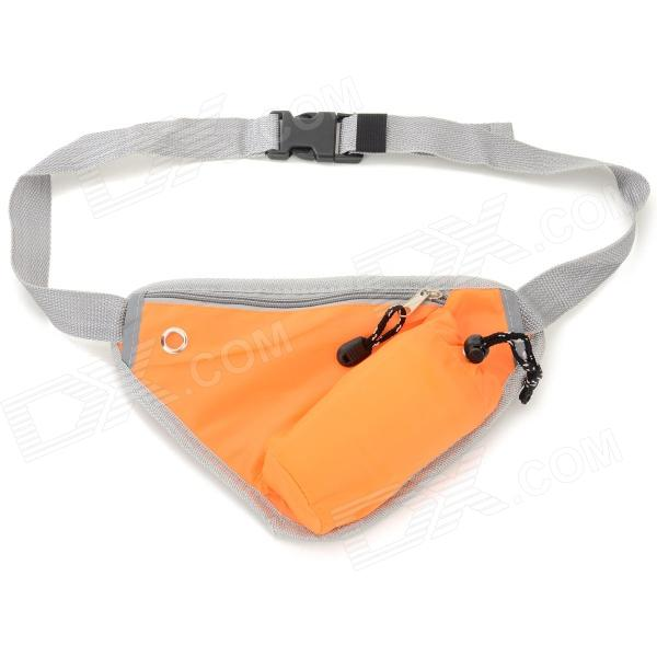 Outdoor Sports Close-fitting Water Bottle Waist Pack Bag w/ Zipper - Orange + Grey gj4431 portable outdoor aluminum water bottle orange 400ml