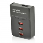 Portable 3-Port USB Output Charging Station w/ US Plug Cable - Black (100~240V)
