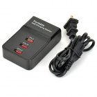 Portable 3-Port USB Output Charging Station w/ US Plugs Cable - Black (100~240V)
