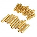 DIY 4.0mm Male + Female Banana Head Connector for Model Airplane - Golden (10 Pairs)