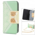Lady Style Bowknot Pattern PU Leather Full Body Case w/ Chain for IPHONE 5 / 5S - Green + White