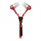 S-What 3.5mm Plug Zipper In-Ear Earphone w/ Microphone / Remote - Red + Silver + Black